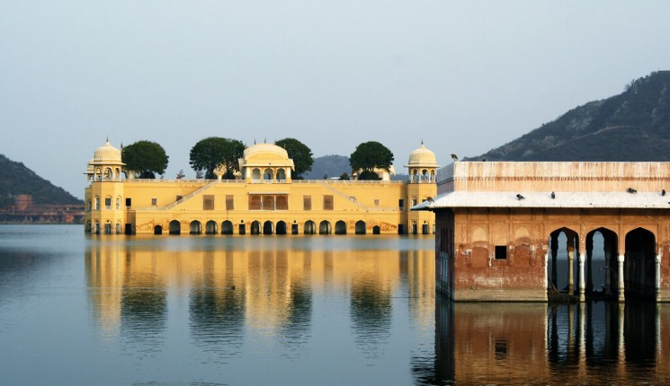 Rajasthan: Palace sunk in the lake, Jal Mahal, Jaipur, Rajasthan, India